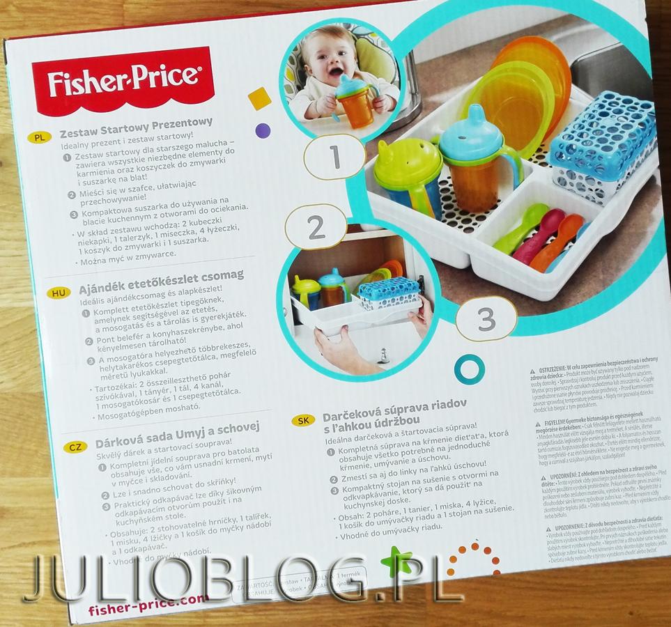 Zestaw-Startowy-Prezentowy-FISHER-PRICE-Y3517-JulioBlog.pl-blog-Julii-opinia-ocena-informacje-co-zawiera-zestaw-naczyń-łyżeczki-kubeczki-niekapki-talerzeyk-miseczka-pudełko-opis-cena
