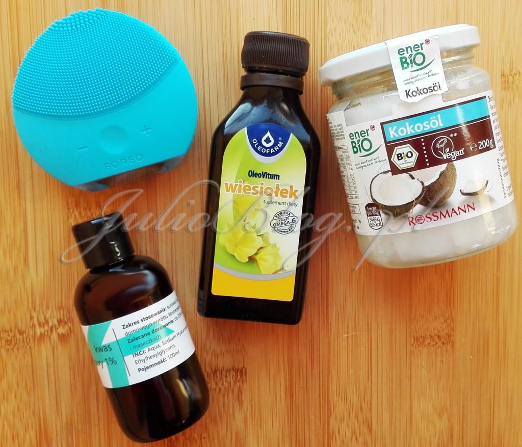 olej-kokosowy-enerbio-Rossman-vegan-kwas-hialuronowy-Fitomed-szczoteczka-soczniczna-FOREO-LUNA-mini-2-domowe-maseczki-DYI-SPA-olej-z-wiesiołka-Oleofarm-domowe-maseczki-DIY