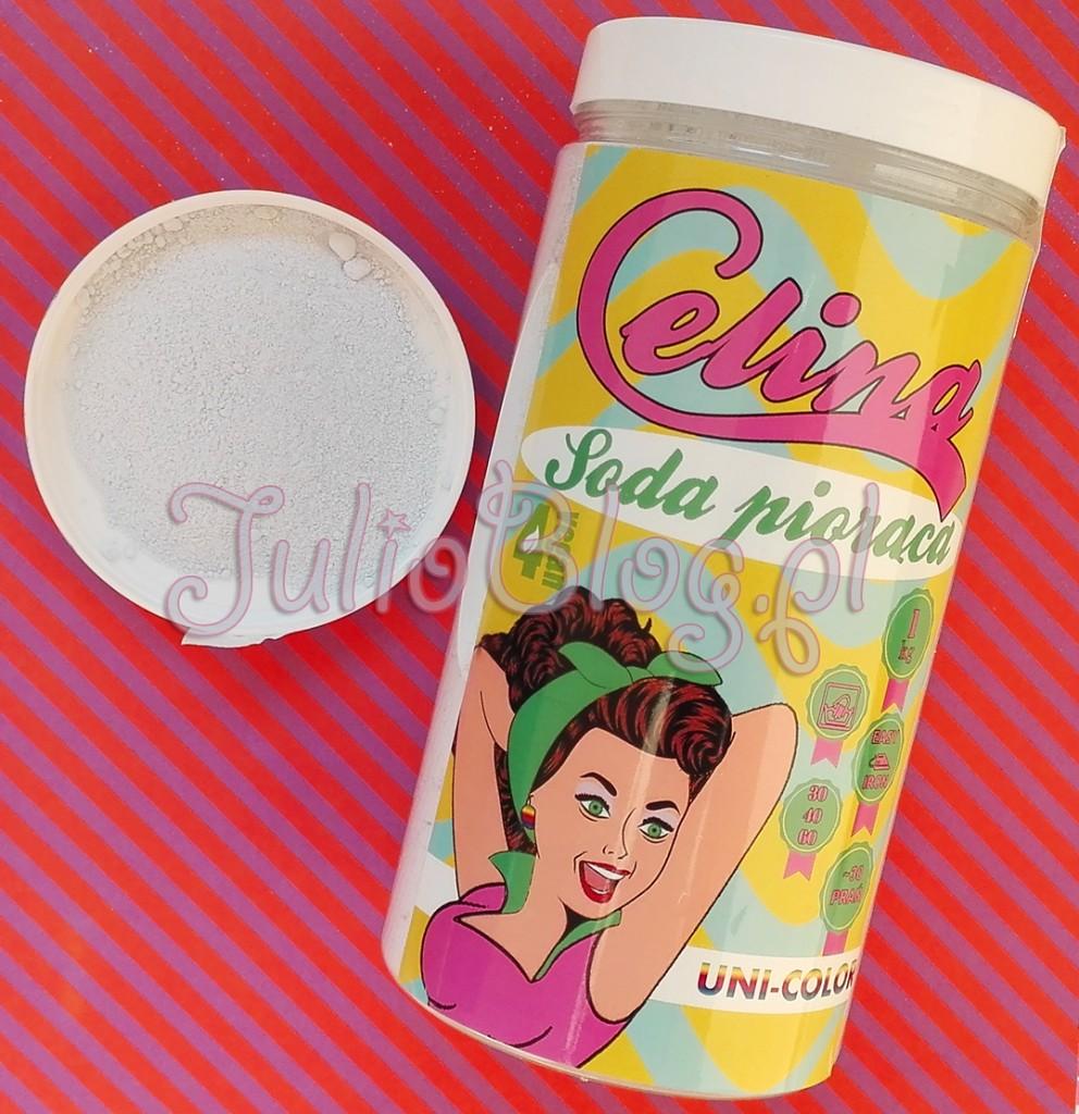 Soda piorąca Celina - Uni Color.   Ekologiczny proszek do prania, na bazie sody, przeznaczony do wszystkich rodzajów tkanin. Soda piorąca Celina UNI-COLOR do wszystkich rodzajów kolorowych tkanin (opakowanie 1kg/35zł). Ekologiczny proszek do prania, na bazie sody, przeznaczony do wszystkich rodzajów tkanin. Soda piorąca Celina - Uni Color Naturalny proszek do prania, na bazie sody, przeznaczony do wszystkich rodzajów tkanin w kolorze białym. Do prania w pralkach automatycznych, półautomatycznych oraz prania ręcznego, w zakresie temperatur 30-60 stopni Celsjusza. W pełni biodegradowalny proszek do prania, doskonale radzi sobie z wszelkimi plamami, zachowując przy tym biel tkaniny. Główną zaletą jest unikalny skład, skomponowany ze składników naturalnego pochodzenia. Pozbawiony fosforanów, szkodliwych sufraktantów, wybielaczy na bazie chloru. Ponadto pozbawiony wypełniaczy i substancji obniżających temperaturę prania, dzięki czemu została uzyskana wysoka wydajność 1 kilogram produktu to około 30 prań. Wzbogacony o unikalny składnik ułatwiający prasowanie. Z delikatną kompozycją zapachową. Naturalny i unikalny skład Formuła ułatwiająca prasowanie Polski produkt            Idealny dla wegan! Dozowanie 30g produktu przy normalnym praniu 50g w przypadku mocnych zabrudzeń 50g * dotyczy standardowej pojemności bębna pralki ~4,5kg   Uwagi Przechowywać poza zasięgiem dzieci. Nie połykać. W przypadku połknięcia skontaktuj się z lekarzem. Unikaj kontaktu z oczami. W przypadku kontaktu z oczami dokładnie przemyć oczy czystą wodą. Sody piorące Celina – naturalne, ekologiczne proszki do prania. Soda piorąca Celina do bieli (opakowanie 1kg/35zł), Soda piorąca Celina UNI-COLOR do wszystkich rodzajów kolorowych tkanin (opakowanie 1kg/35zł. Produkty w pełni biodegradowalne i wegańskie. Naturalne proszki do prania polskiej marki Celina: Soda piorąca Celina do bieli (opakowanie 1kg/35zł), oraz Soda piorąca Celina UNI-COLOR do wszystkich rodzajów kolorowych tkanin (opakowanie 1kg/35zł). 