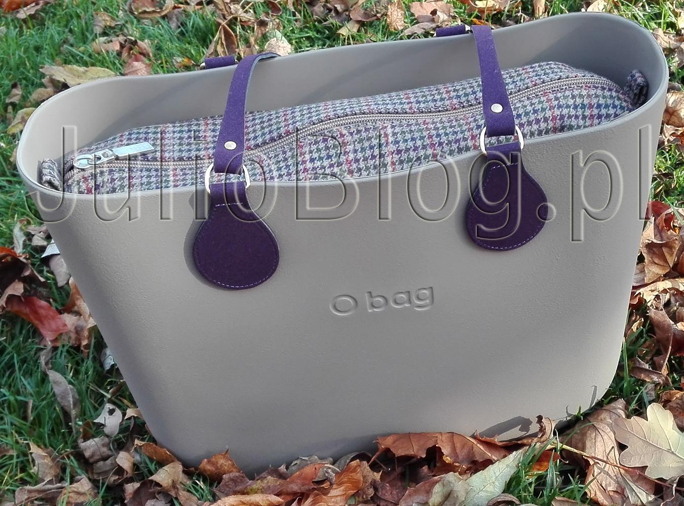 210d9b062bee1 Moja torebka O bag Standard Skalista z uchwytami goccia con mezzoanello eco  suede w kolorze Melanzana i organizerem wewnętrznym Principe Di Galles ...