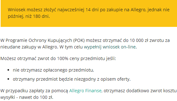 program-ochrony-kupujących-allegro-wniosek-zwrot-pieniędzy-za-zakupy-od-nieuczciwego-sprzedawcy-na-Allegro-bezpieczne-zakupy-w-internecie-JulioBlog.pl-doświadczenia-ocena