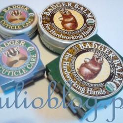 Organiczny balsam do suchych skórek i paznokci Badger Balm Cuticle Care (mniejsza puszka) i Organiczny balsam do spracowanych: suchych, spękanych rąk Badger Balm for Hardworking Hands (większa puszka)