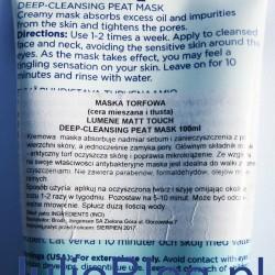 Torfowa maska oczyszczająco-nawilżająca Lumene Matt Touch Kremowa maska absorbuje nadmiar sebum i zanieczyszczenia z powierzchni skóry, a jednocześnie zamyka pory. Głównym składnik maski- arktyczny torf oczyszcza skórę i poprawia mikrokrążenie. Ze względu na swoje właściwości antybakteryjne maska jest idealna do walki z zanieczyszczeniami. Nie zawiera parabenów, formaldehydów, olejów mineralnych. Sposób użycia: aplikuj na oczyszczoną twarz i szyję omijając okolice oczu 1-2 razy w tygodniu. Pozostaw na 5-10 minut. Może być odczuwalne mrowienie. Spłucz dużą ilością wody.